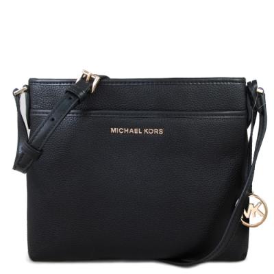 MICHAEL KORS Bedford 金字大圓Logo荔枝紋皮革前口袋斜背方包(黑色)