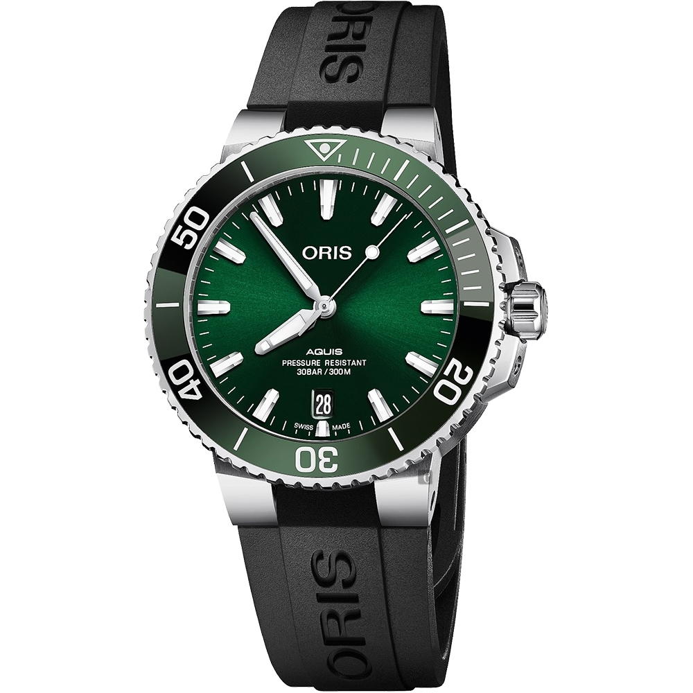 Oris 豪利時 Aquis 時間之海潛水300米日期機械錶-綠水鬼/39.5mm