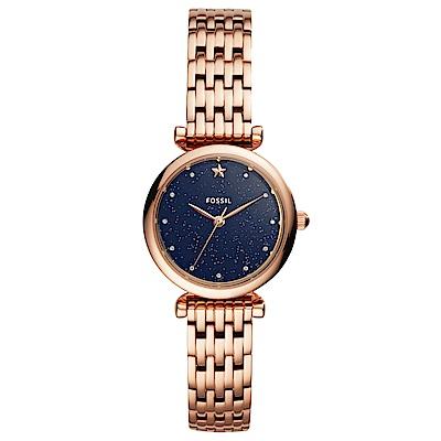 FOSSIL Carlie 閃耀星空晶鑽時尚手錶(ES4522)-藍X玫瑰金/28mm