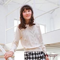 Annys可愛甜美小珍珠立體蝴蝶結針織毛衣*7638米白