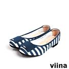 viina 玩味方塊條紋摺疊娃娃鞋MIT - 藍