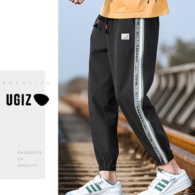 UGIZ男裝-時尚潮流百搭口袋撞色線條造型縮口褲-2色(M-2XL)