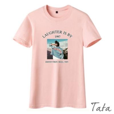 背影人像修身印花T恤上衣 共二色 TATA-(S~L)