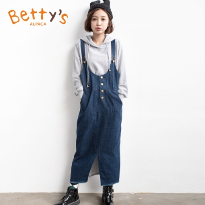 betty's貝蒂思 牛仔拼接連帽假兩件洋裝(灰色)