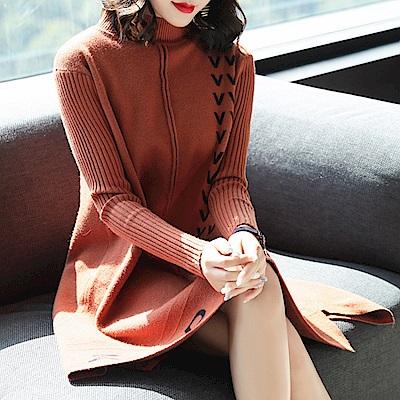 寬鬆針織雅致印花洋裝-M~3XL(共四色)-糖潮