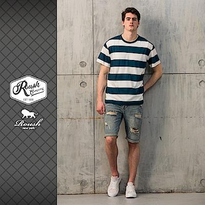 Roush 高磅數落肩設計橫紋短TEE(3色)