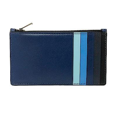 COACH 多卡夾層男款中性名片夾零錢包(漸層藍)