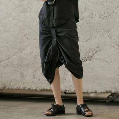 設計所在Style-個性開衩褶皺麻料長裙