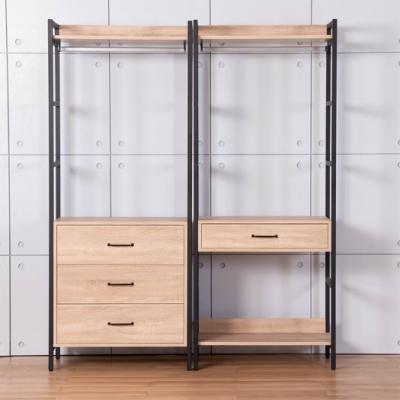 D&T德泰傢俱 格萊斯原切木工業風5.2尺中抽+三抽多功能衣櫃-160x44x196cm