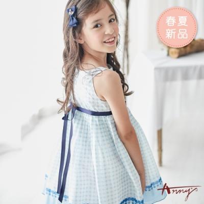 Annys安妮公主-白玉波點船型領蝴蝶結春夏款綁帶洋裝*9124水藍