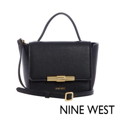 NINE WEST HOLLIS掀蓋式金屬釦方型MINI手提包-黑色(116678)