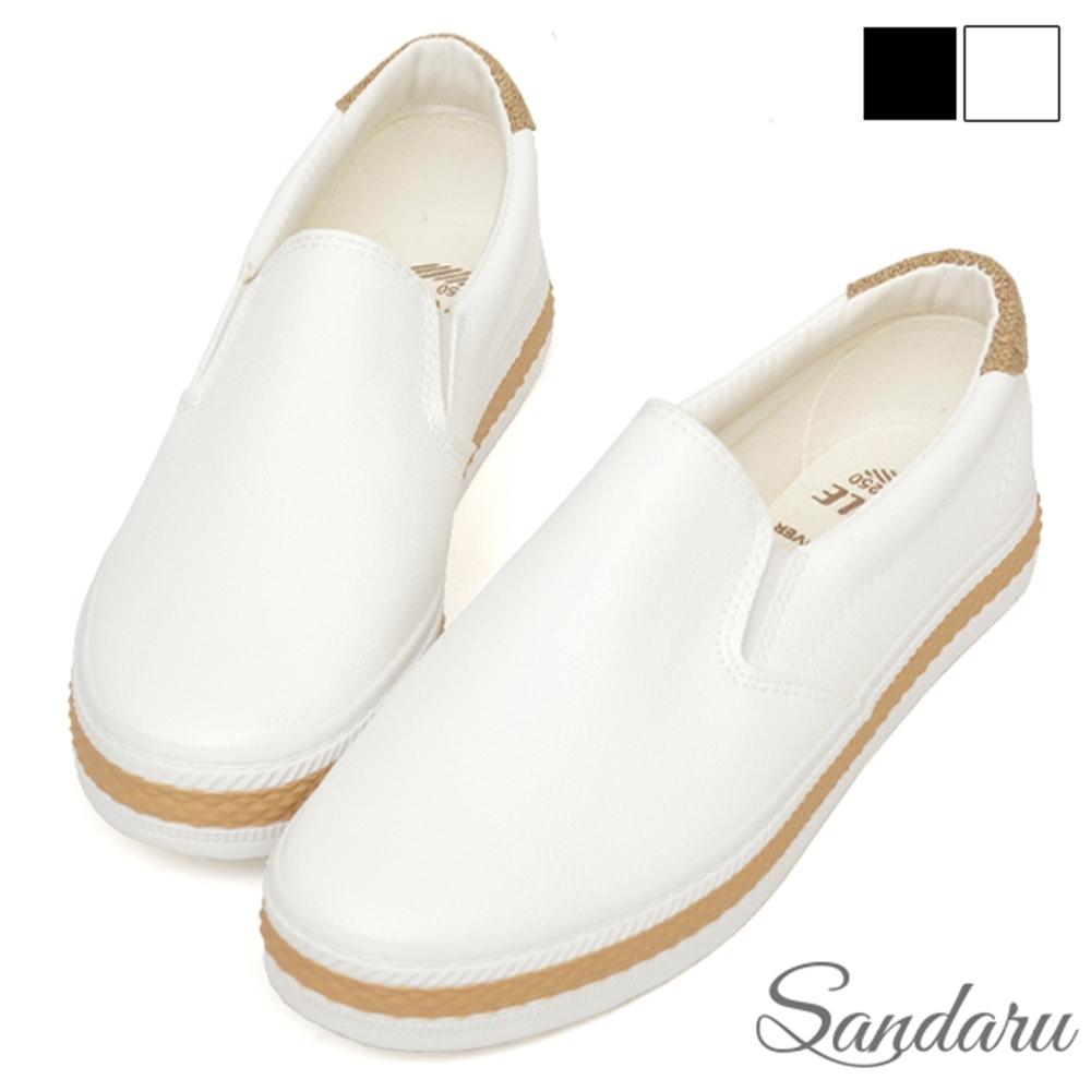 山打努SANDARU-防磨腳小白鞋 簡約拼色休閒鞋-白 (白)