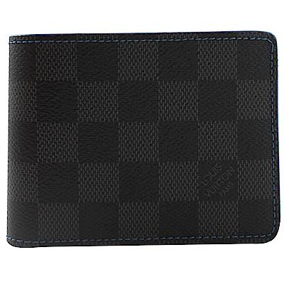 LV N64033 Slender 黑灰棋盤格紋對開八卡短夾(藍)