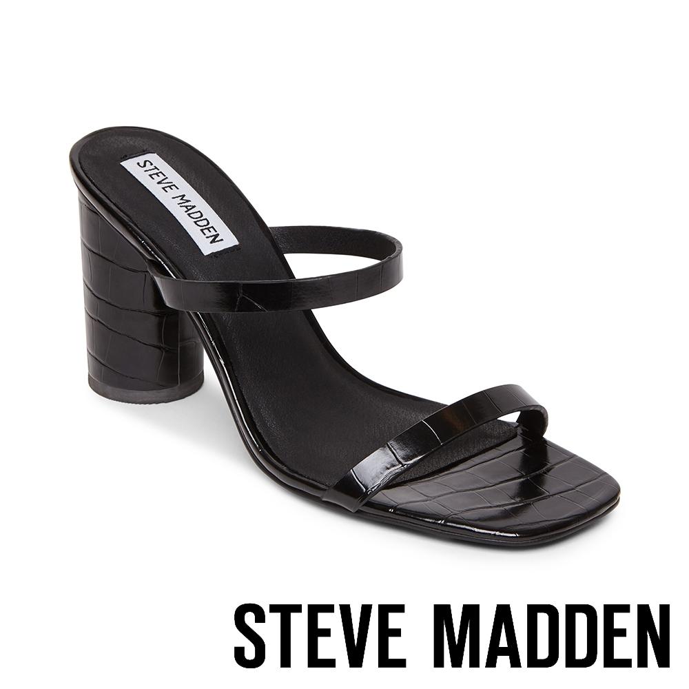 STEVE MADDEN-KATO 特色圓柱壓紋粗高跟拖鞋-黑色