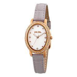 Folli Follie復古晶緻皮革腕錶-灰(WF18B046SSW-GA)