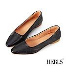 HERLS 法式優雅 柔軟全真皮縫線尖頭平底鞋-黑色