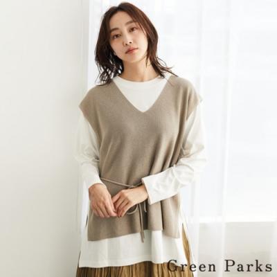 Green Parks 【SET ITEM】後綁帶針織背心+素面長版圓領T恤