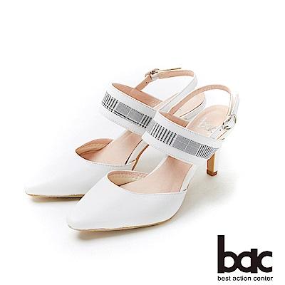 bac紐約不夜城 - 兩截式後空格紋異材質拼接高跟鞋-白