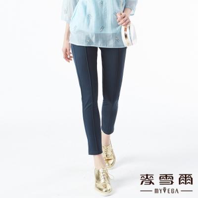 【麥雪爾】棉質舒適彈性腰身九分褲-藍