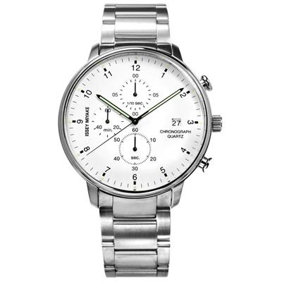 ISSEY MIYAKE 三宅一生 C系列 岩崎一郎計時不鏽鋼手錶-白色/42mm