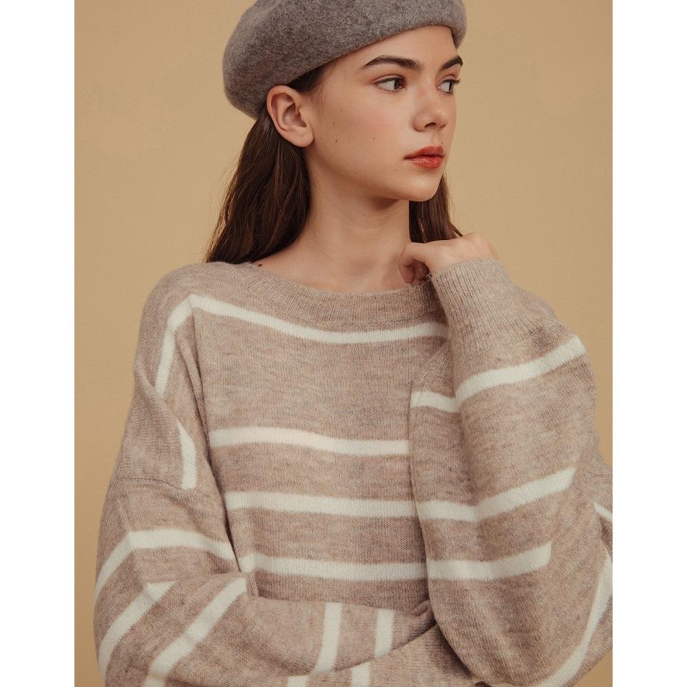 Shester55-條紋泡袖針織上衣(二色)-女【VSH169】