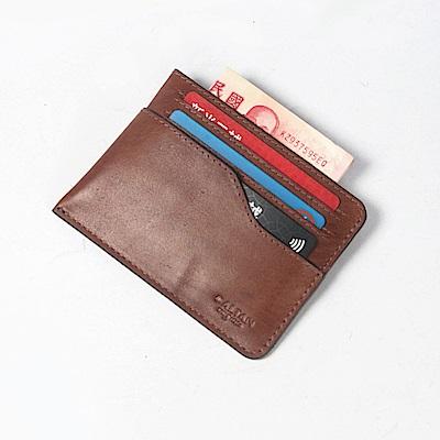 CALTAN-卡片夾 名片夾 流線設計 鈔票收納 卡夾 皮革小物-2191cd-c