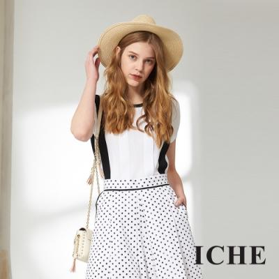 ICHE 衣哲 簡約百搭撞色針織造型上衣 (白)