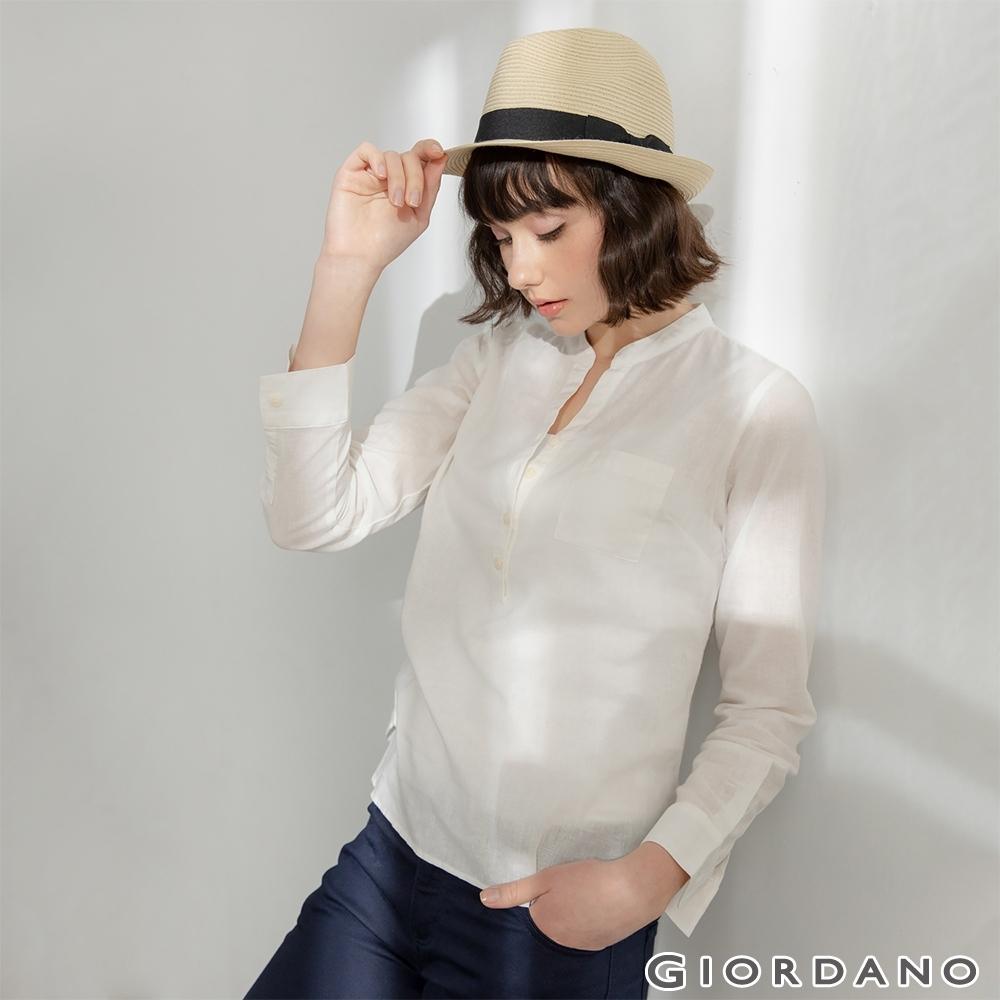 GIORDANO  女裝亨利領棉麻襯衫 - 16 雪白