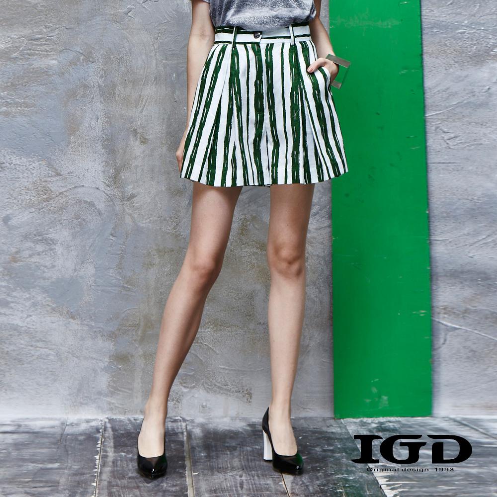IGD英格麗 純棉筆刷感條紋印花短褲