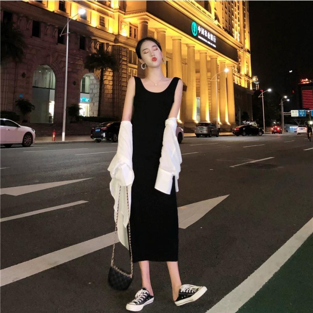 中大尺碼白色寬鬆長版雪紡襯衫加黑色背心裙套裝XL~4L-Ballet Dolly