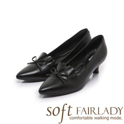 FAIR LADY Soft芯太軟百摺皮革結飾尖頭中跟鞋 黑