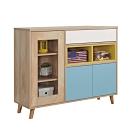 文創集 伊帕卡 現代3.3尺三門單抽置物櫃/收納櫃-98x40x84cm免組