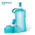 韓國sillymann-簡約便攜捲式鉑金矽膠水瓶-550ml-薄荷藍