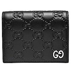 GUCCI 經典Signature系列壓紋金屬GG LOGO牛皮暗釦對摺短夾(黑)