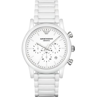 Emporio Armani Classic 經典白陶時尚腕錶(AR1499)白/43mm