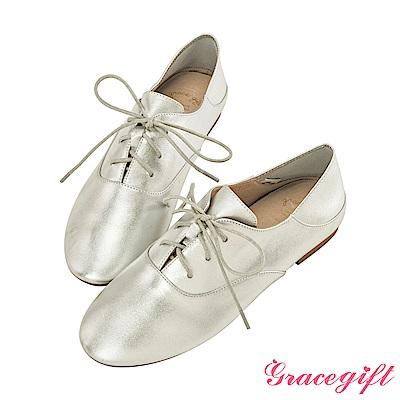 Grace gift-全真皮2way簡約綁帶便鞋 銀