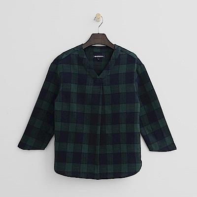 Hang Ten - 女裝 - 經典格紋V領襯衫-綠