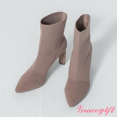 Grace gift-韓系尖頭織布襪靴 深杏