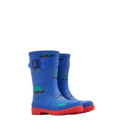 英國【Joules】藍色恐龍划水雨靴
