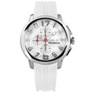 Tendence 天勢表 圓弧鏡面三眼計時日期礦石強化玻璃防水矽膠手錶-白/46mm
