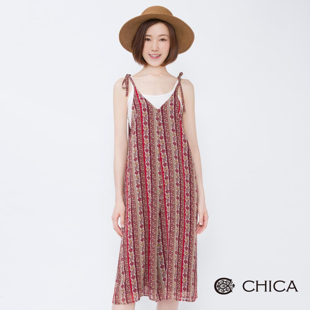 CHICA 南島假期民俗風綁帶吊帶寬褲(2色)
