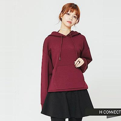 H:CONNECT 韓國品牌 女裝-後印字抽繩口袋帽T-紫