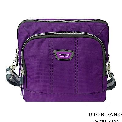 GIORDANO 佐丹奴格休閒格紋雙色斜側背包(紫)