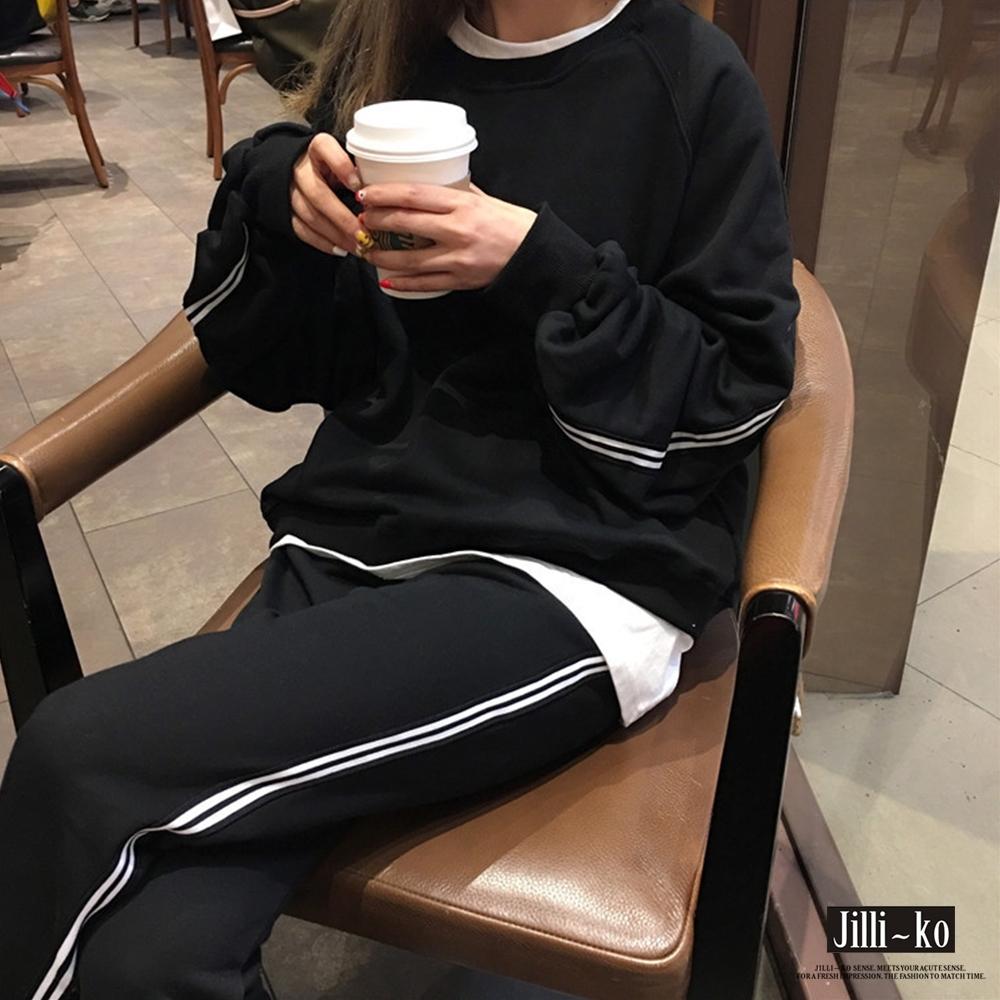 JILLI-KO 兩件套薄款衛衣套裝- 黑