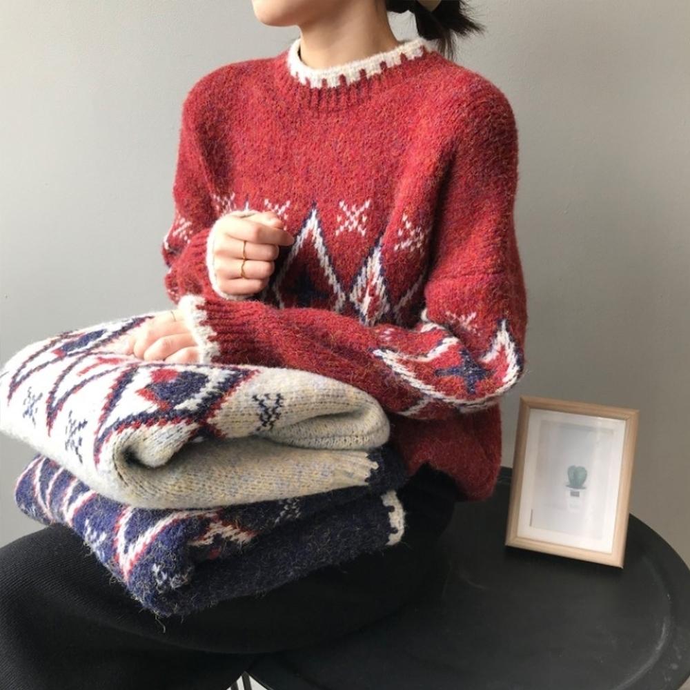 知性系列復古紅色聖誕毛衣日系寬鬆慵懶風加厚上衣三色可選-設計所在