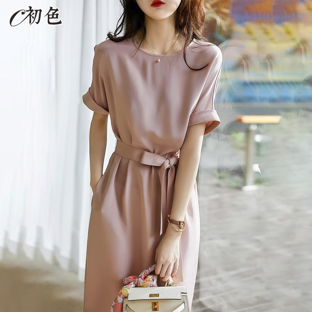 初色  氣質收腰純色洋裝-粉紅色-(M-2XL可選)