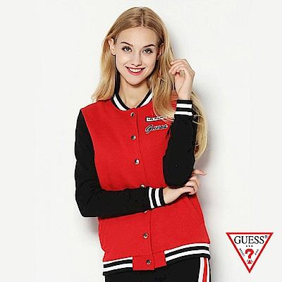 GUESS-女裝-撞色logo棒球款夾克外套-紅