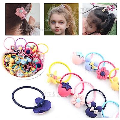 韓國卡通霧面質感 精緻兒童髮圈 馬卡龍髮飾品 髮繩 髮束-超值10入 kiret