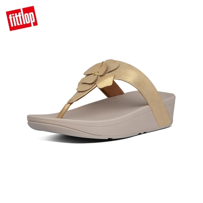 FitFlop LOTTIE CORSAGE SUEDE TOE-THONGS 麂皮花朵夾腳涼鞋-女(復古金)