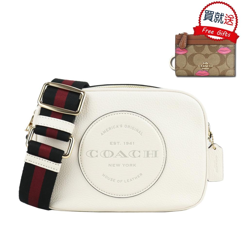 COACH 大圓標馬車皮革方形相機包(中/白)+零錢包(黑)